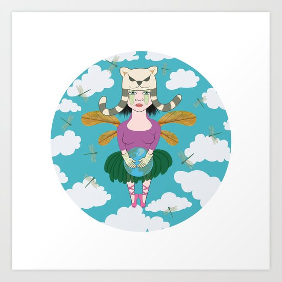 dragonflies with girl (dame nature) Art Print