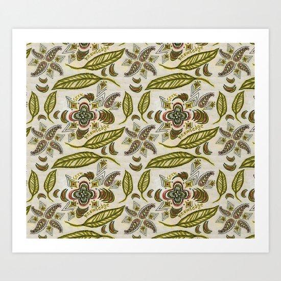 Seek Knowledge Folk Art Pattern Art Print
