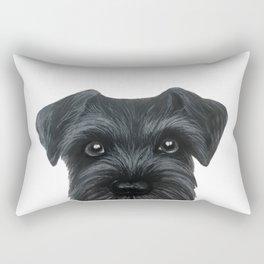 Black Schnauzer, Dog illustration original painting print Rectangular Pillow