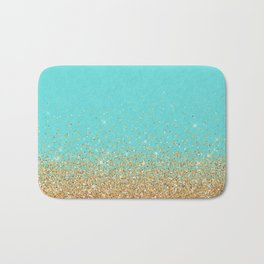 Sparkling gold glitter confetti on aqua teal damask background Bath Mat