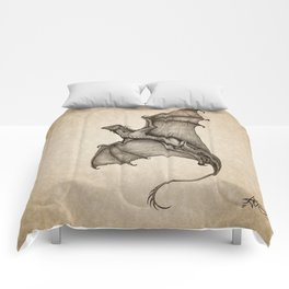 """Hurricane Wyvern"" by Amber Marine, Ink & Graphite Dragon Art, (Copyright 2016) Comforters"