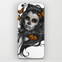 Sugar Skull Tattoo Girl with Butterflies iPhone Skin