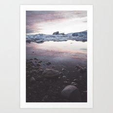 Jokulsarlon Lagoon - Sunset Art Print