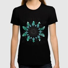 We live by the sun, We feel by the moon. SMALL Black Womens Fitted Tee