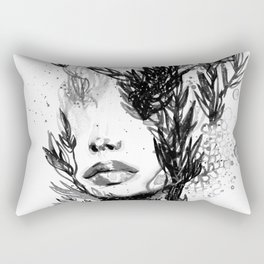 BLACK N WHITE WOMEN ABSTRACT FACE-LOVE Rectangular Pillow