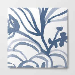 Blue Abstract Watery Lines Metal Print