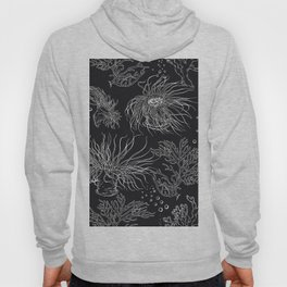 Seaweed and corals on black Hoody