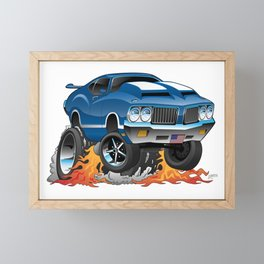 Classic Seventies American Muscle Car Hot Rod Cartoon Illustration Framed Mini Art Print