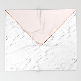 Peony blush geometric marble Throw Blanket