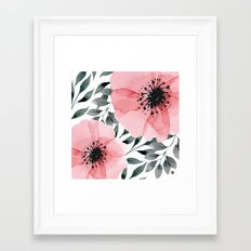 Big Watercolor Flowers Framed Art Print