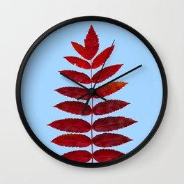 Red Sumac Leaves Wall Clock