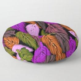 Watercolor Macrame Feather Toss in Black + Boho Purple Orange Floor Pillow