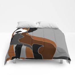 Black Brown Grey & White Cute Dog Comforters
