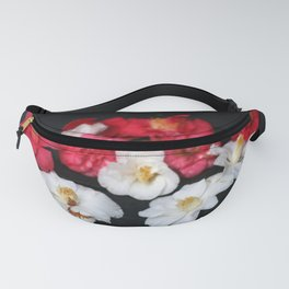 Red and White camelia Fanny Pack