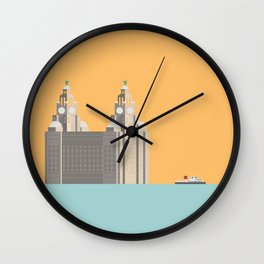 Liverpool Liver Building with Ferry on the Mersey Wall Clock