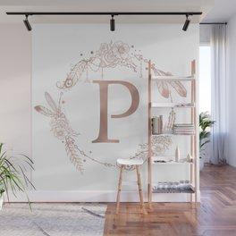 Letter P Rose Gold Pink Initial Monogram Wall Mural