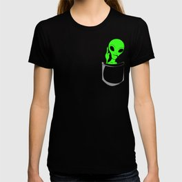 Alien in a pocket smoking weed / blunt T-shirt