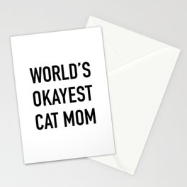 World's Okayest Cat Mom Black Typography Stationery Cards