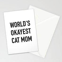 World's Okayest Cat Mom Black Typography Stationery Cards