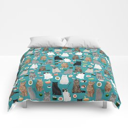 Cat Sushi pattern by pet friendly cute cat gifts for pet lovers foodies kitchen Comforters