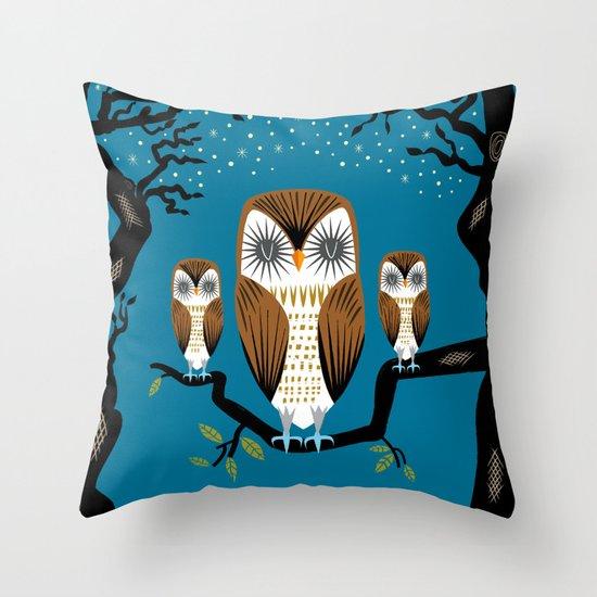 Three Lazy Owls Throw Pillow