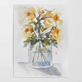Essence of Daffodil in Watercolor Poster