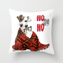 Hand Drawn Jack Russell Terrier Dog Portrait Snuggled in Plaid Blanket Throw Pillow