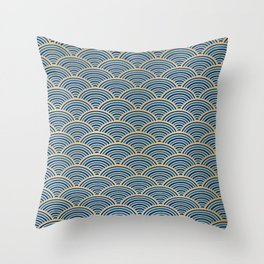 Japan Wall Art: Seigaiha Wave, Japanese Motif, Blue Seas and Waves in Blue and Gold Throw Pillow