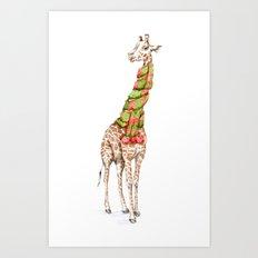 Giraffe in a Scarf Art Print
