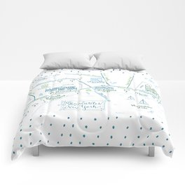 Skaneateles, New York Illustrated Calligraphy Print Comforters