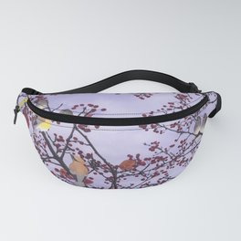 cedar waxwings and berries Fanny Pack