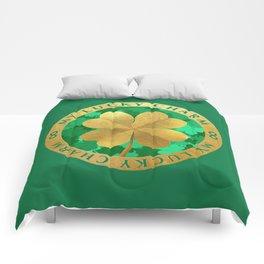 Lucky charm 4 leaf clover Comforters
