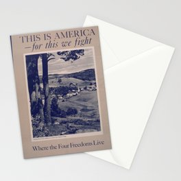 Vintage American World War 2 Poster - This is America: Where the Four Freedoms Live (1943) Stationery Cards