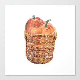 Autumn Basket of Pumpkins Canvas Print