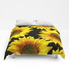 Large Sunflowers on a black background - #Society6 #buyart Comforters