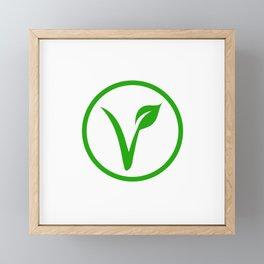 Universal vegetarian symbol- The V-label- V with a leaf. Vegetarian Framed Mini Art Print
