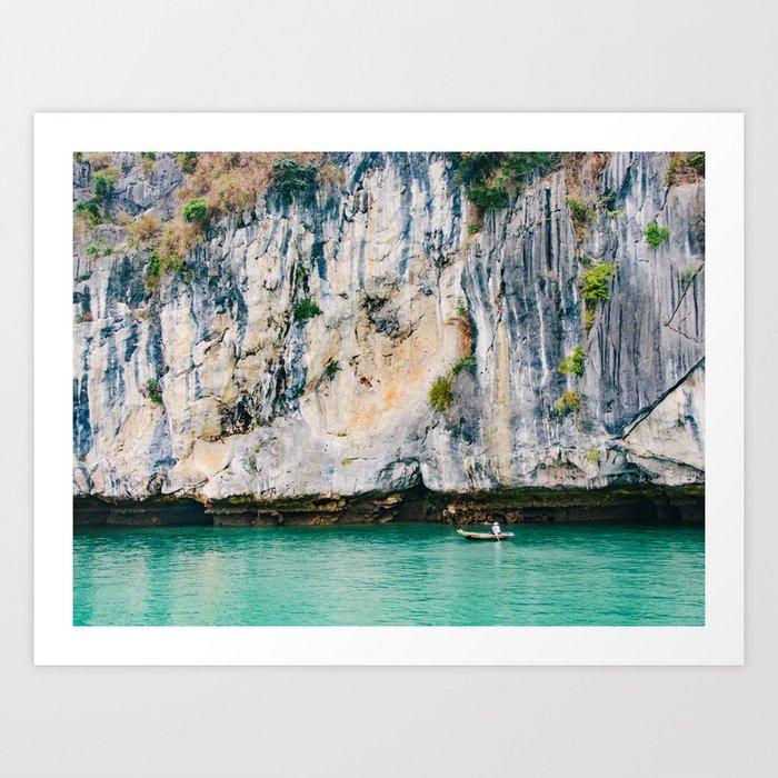 Fisherman in Halong Bay, Vietnam Art Print