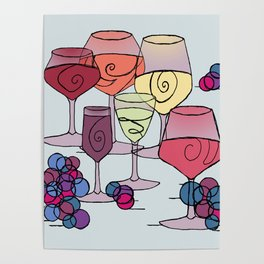 Wine and Grapes Poster