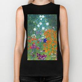 Gustav Klimt Flower Garden Biker Tank