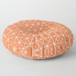 Geometric Tile Pattern Orange Floor Pillow