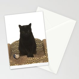 The Queen on her Couch, Edie the Manx, Black Cat Photograph Stationery Cards