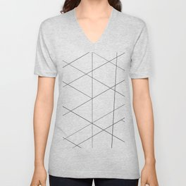 Geometric black white artistic abstract pattern Unisex V-Neck