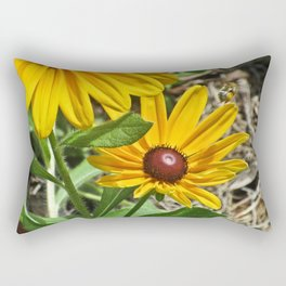 Black-eyed Susans and a Busy Bee Rectangular Pillow