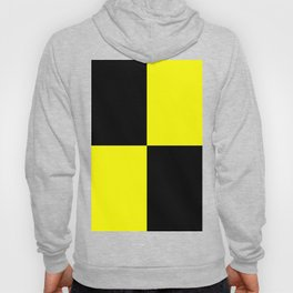 Bright Fluorescent Yellow Neon & Black Checked Checkerboard Hoody