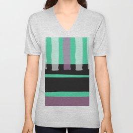 Contemporary black neo green mauve pink geometric Unisex V-Neck