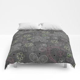 Custom Beautiful Multicolor Floral With Grey Back Pattern Comforters