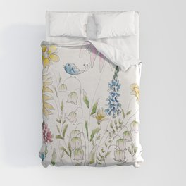 wild flowers and blue bird _ink and watercolor 1 Duvet Cover