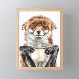 """ Morning fox "" Red fox with her morning coffee Framed Mini Art Print"