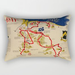 Vintage Omaha Beach D-Day Invasion Map (1945) Rectangular Pillow