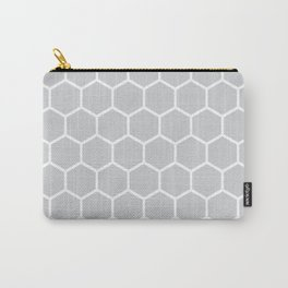 White and gray honeycomb pattern Carry-All Pouch